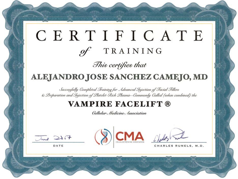 Vampire Facelift Training Certificate  Dr Alejandro Sanchez Camejo
